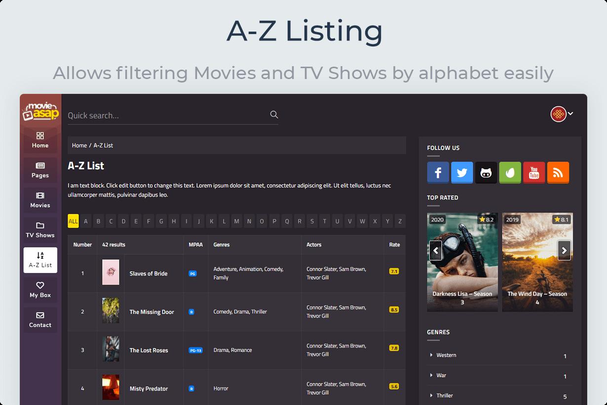 MovieAsap A-Z Listing