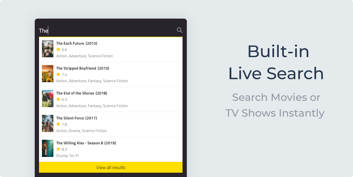 MovieAsap Built-in Live Search