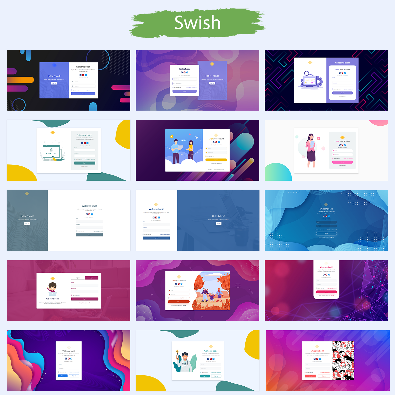 Swish | Login and Register Form Templates Pack